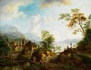 Rijnlandschap met een stadjet op de oever met velerlei menselijke activiteiten