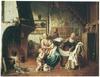 Interieur met de heilige familie, Anna en Johannes de Doper nabij het haardvuur
