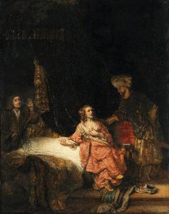 Jozef beschuldigd door de vrouw van Potiphar (Genesis 39:16-19)