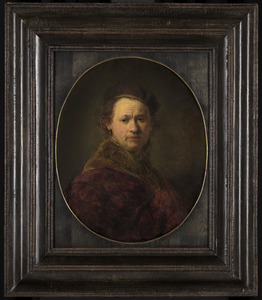 Zelfportret met baret en rode mantel