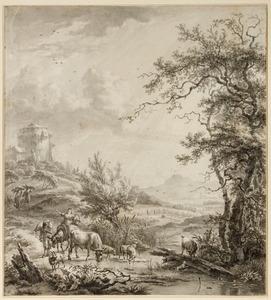Italianiserend heuvellandschap met herders bij een beek (Zomer)