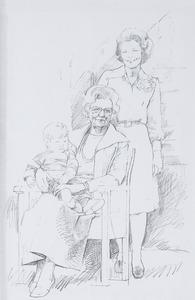 Groepsportret van koningin Juliana (1909-2004), prinses Beatrix (1938-) en Floris prins van Oranje-Nassau, Van Vollenhoven (1975-)