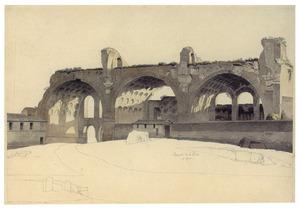 Gezicht op de basiliek van Constantijn en Maxentius te Rome