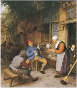 Drinkende boeren voor een herberg