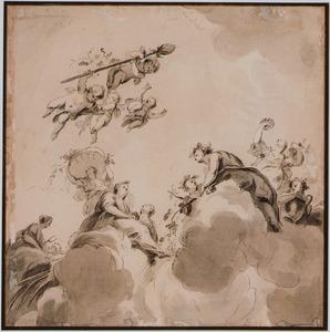 Putti met thyrsusstaf en vrouwen op wolken