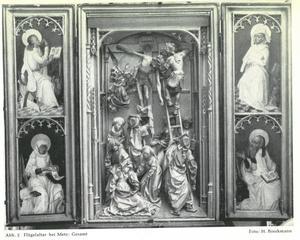 De HH. Johannes en Mattheus (binnenzijde linkerluik); De kruisafneming (midden); De HH. Lucas en Marcus (binnenzijde rechterluik)