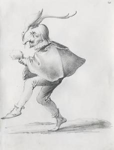 Dansende nar met kraanvogel op zijn hoofd
