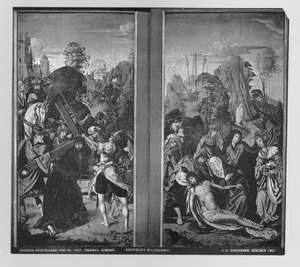 De kruisdraging (links), de bewening (rechts)