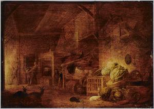 Stalinterieur met keukengerei, kolen, een kooi met gevogelte, konijnen en geiten met in de achtergrond boerenlui op het punt een koe te slachten