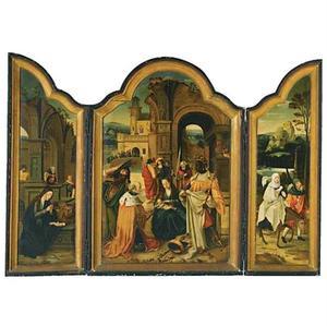 De geboorte (binnenzijde links), de aanbidding van de Wijzen (midden), de vlucht naar Egypte (binnenzijde rechts)