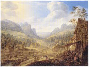 Uitgestrekt berglandschap met een herberg op de voorgrond