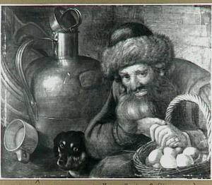 Een oude man met een mand eieren, een hond en vaatwerk