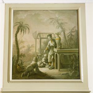 Chinese voorstelling met een vrouw en twee kinderen in een tuin