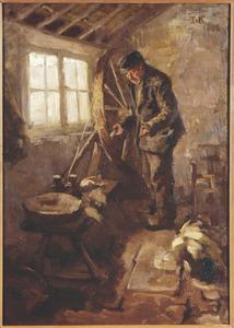 Interieur met een oude man aan het spinnenwiel