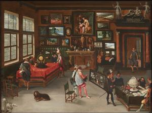 Kunstkenners in een kunstverzameling