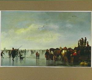 IJsgezicht met veel figuren; op de achtergrond de ruïne van het Huis te Merwede bij Dordrecht