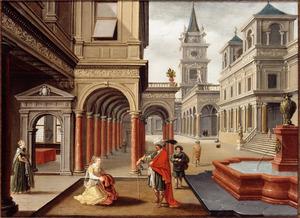 Binnenplaats van een paleis met een voorstelling van Potifar door zijn vrouw ingelicht over de misstap van Jozef ( Genesis 39)