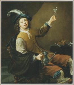Vrolijke drinker met een Jan Steen-kan