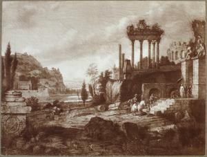 Zuidelijk landschap met een gezelschap op de trappen van een antieke ruïne