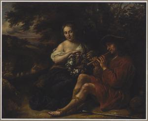 Herderin luisterend naar fluitspelende herder in een arcadisch landschap
