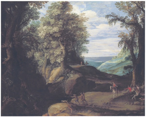 Boslandschap met jagers
