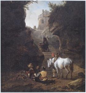 Berglandschap met kaartende reizigers, een pakpaard en moeder en kind in een bergkloof
