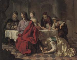 Maria Magdalena wast de voeten van Christus in het huis van Simon de Farizeeër