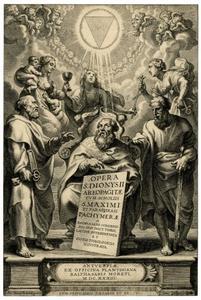 Titelpagina voor B. Cordier, Opera S. Dionysii Areopagitae, I., Antwerpen 1634