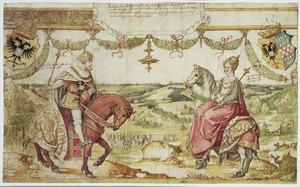 Dubbelportret van Adolf van Nassau (?-1298) en Imagina van Limburg (?-1313)