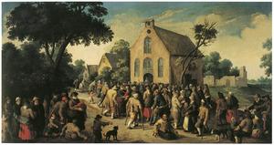 Dorpsstraat met veel figuren bij een kerk