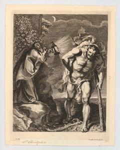 Christoffel draagt Christus in het donker de rivier over
