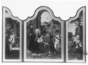 De geboorte (links), de aanbidding van de Wijzen (midden), de rust op de vlucht naar Egypte (rechts)