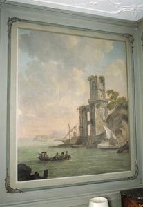 Mediterraan kustlandschap met ruïne