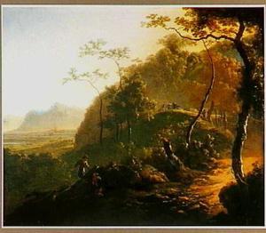 Zuidelijk landschap met rustende figuren langs een weg