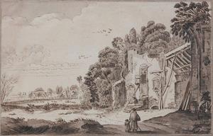De aanbouw van de poort van kasteel Brederode vanuit het zuidoosten