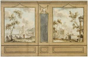 Wand met twee mediterrane rivierlandschappen en spiegel