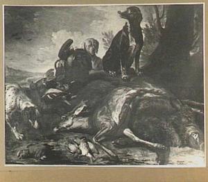Twee honden in een landschap bij een buit van hert, everzwijn en gevogelte
