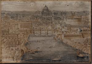 Gezicht op Rome met de Tiber, Castel Sant'Angelo ofwel de Engelenburcht en de Sint Pieter