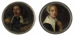 Zelfportret van Johann Philip Lemke (6131-17111) en een portret van zijn vrouw