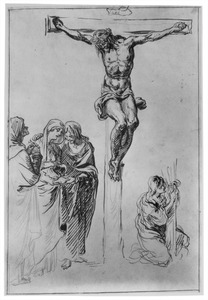 Christus aan het kruis met treurende heiligen