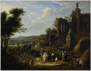 Landschap met veel volk bij antieke ruïnes