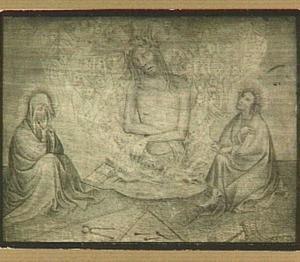 Christus omringd door cherubijnen en serafijnen, Maria, Johannes en de passiewerktuigen