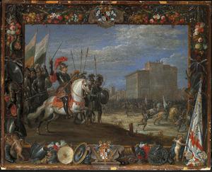 Don Antonio Moncada slaat de aanval van Cabrera af op het kasteel waar koningin Bianca verblijft