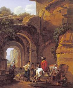 Soldaten en reizigers bij de ingang van een vervallen poortgebouw