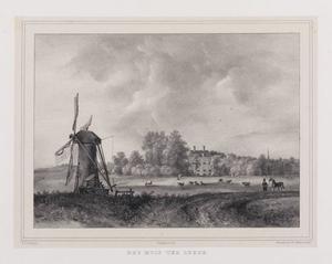 Landschap met molen en gezicht op de hofstede Ter Leede