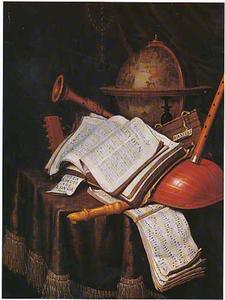 Vanitasstilleven met boeken, muziekinstrumenten en globe op een tafel met kleed