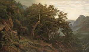Gezicht op een eikenbos in de morgen met een heremiet