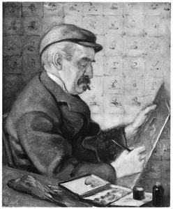 Portret van de kunstenaar Theo van Hoytema in zijn huisje te Oosterend (Texel)