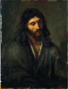 Figuurstudie van een jonge man als Christus