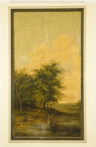 Bosrijk landschap met jager